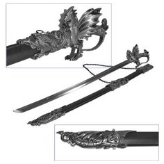 Whetstone Cutlery Ornate Medieval Dragon Sword, Black by Whetstone Cutlery. $67.99. This decorate sword is perfect for any collector. It features a dragon hit, decorated scabbard and hilt. It measures 40 inches and has a handy metal chain for wall mounting or carrying.