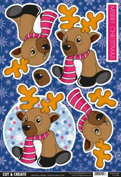 Buzzcraft Cut & Create - Christmas Friends - Rudolph with Scarf Mickey's Very Merry Christmas, Christmas Moose, Christmas Cards To Make, Christmas Decorations To Make, Xmas Cards, Christmas Projects, 3 D, December Daily, Christmas Sheets