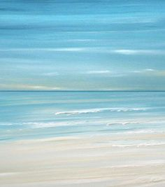 Blue Beach ocean coastal wave wall art painting by FradetFineArt, $40.00
