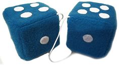 "Cool & Custom {3"" Inch w/ 11.5 Nylon String} Single Pair of ""Fuzzy, Furry & Fluffy Plush Dice"" Rear View Mirror Hanging Ornament Decoration w/ Basic Classic Design [Charger Blue and White Color] mySimple Products http://www.amazon.com/dp/B0160AOE9Q/ref=cm_sw_r_pi_dp_uJPMwb0JG1TKZ"