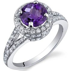 Majestic Sensation 1.25 Carats Amethyst Ring in Sterling Silver Rhodium Finish Size 5 to 9 Peora,