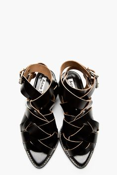 ACNE STUDIOS Black Leather Woven Lenna Sandals