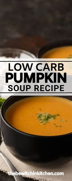 This Low Carb Pumpkin Soup is a must-have recipe for the fall. This soup is definitely one of the more healthy options of the season and it's just so simple and easy to make! It takes about 30 minutes to cook, so it's the perfect weeknight meal for the family! Slow Cooker Soup, Slow Cooker Recipes, Paleo Recipes, Low Carb Recipes, Soup Recipes, Best Dinner Recipes, Whole 30 Recipes, Weeknight Meals, Quick Meals