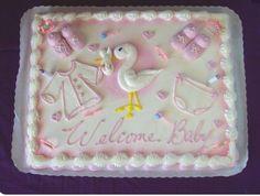 Torta Baby Shower, Girl Shower Cake, Baby Shower Sheet Cakes, Girl Baby Shower Decorations, Boy Baby Shower Themes, Baby Shower Favors, Baby Shower Invitations, Sheet Cake Designs, Girl Cakes