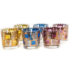 Set of 6 Castle Tumblers    Drink like royalty out of these vintage multicolored glasses with gold outlined lion motif!