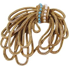 Vintage Gold Tone Rope Brooch by Coro