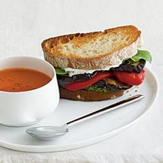 Vegetarian Dinner Recipe: Eggplant and Goat Cheese Sandwiches with Tomato-Parmesan Soup | CookingLight.com
