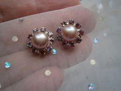 PerlenOhrstecker pastell Perle rosa Strass multi von kunstpause auf DaWanda.com