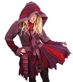 Grufeling - Old English for lying close-wrapped in a comfortable manner.  Grufeling is a snuggly burgundy coat with fiery scarlet accents.