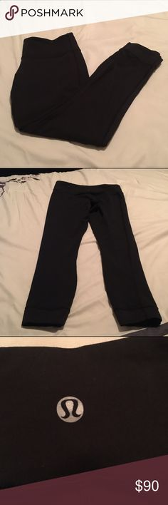 ❤SALE❤Lululemon workout pants Black mid rise workout pants in good used condition. The legs are slightly longer then mid calf length. They are extra long capris. lululemon athletica Pants