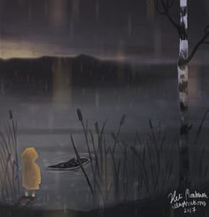 The encounter of a child and a pike.  #illustration #drawing #painting #digitalpainting #digitalart #landscape #lake #birch #child #fish #pike #rain #gloomy #concept #art