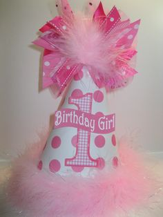 Personalized Pink and White Polka Dots Birthday Party Hat. $12.99, via Etsy.