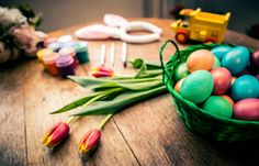 decorated easter eggs background