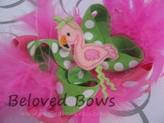 Embroidered Felt Pink Flamingo Boutique Style Hair by belovedbows, $9.95