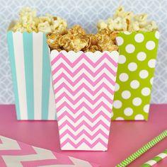 Pahvinen popcorn boksi, pinkki siksak/chevron
