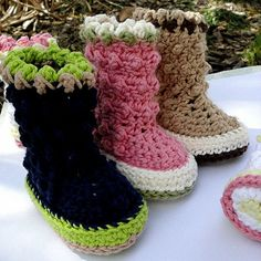 Instant Download Crochet Pattern Baby Raindrop Boots por Genevive