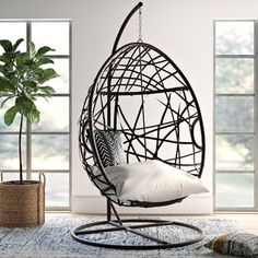Mistana Anner Tear Drop Swing Chair with Stand Egg Swing Chair, Hanging Swing Chair, Swinging Chair, Hanging Beds, Hanging Basket, Rocking Chair, Living Room Chairs, Dining Chairs, Dining Room