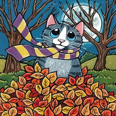 Autumn Leaves Funny Cat Greeting Card by Lisa Marie Robinson Humorous Greetings Black Cat Painting, Pumpkin Images, Frida Art, Cat Clipart, Cute Cats And Dogs, Animal Projects, Diy Canvas Art, Cat Drawing, Whimsical Art
