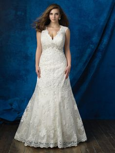 Allure Bridal Women Size Colleciton Sizes with an S are 4 inches shorter in length. Scalloped edging and an empire waist accent this classic lace gown. Plus Size Wedding Dresses With Sleeves, Dresses For Apple Shape, Plus Size Wedding Gowns, Western Wedding Dresses, Lace Wedding Dress, Wedding Dress Styles, Bridal Gowns, Marie, Bridesmaid Dresses