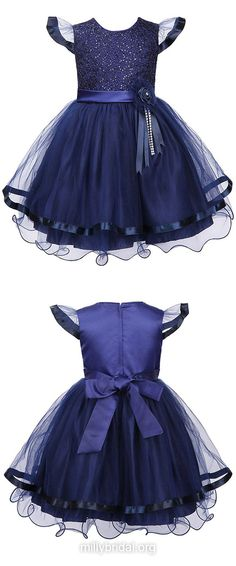 Discounted Birthday Dresses, A-line Holiday Dresses, Scoop Neck Communion Dresses, Tulle Ankle-length Pageant Dresses, Sashes / Ribbons Flower Girl Dresses