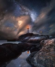 Man Made Lighthouse Rock Ocean Sea Sky Night Starry Sky Wallpaper Landscape Photography, Nature Photography, Landscape Photos, Night Photography, Landscape Art, Photography Tips, Travel Photography, Lighthouse Pictures, Outer Space