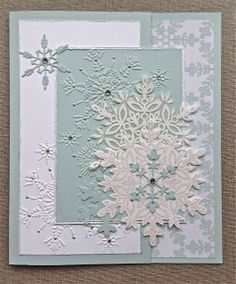Beautiful Glittery Snowflakes Christmas Card...Jane Goldman: Petite Fleur Paperie.