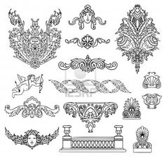 antique and baroque ornaments vector set Stock Photo
