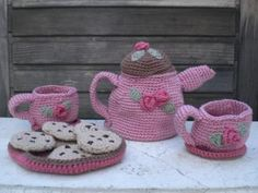 Crochet Tea Set for Two FREE SHIPPING by CuteAsAButtonToys for $42.95