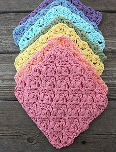 Crochet a rainbow array of these cheerful dishcloths for a splash of springtime color. (Yarnspirations)