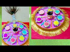 Holi festival plate /diy holi gifts/ best out of waste/decorated thali/holi platter Diwali And Holi, Diwali Diy, Engagement Decorations, Wedding Decorations, Holi Girls, Thali Decoration Ideas, Fun Crafts, Arts And Crafts, Holi Party