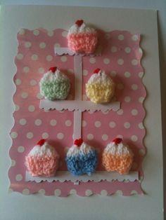 Mini cupcake Knit card Knitting Kits, Mini Cupcakes, Diy Cards, Stamping, Embellishments, Card Ideas, Card Making, Scrapbooking, Kawaii