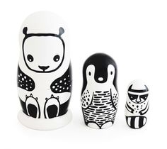 These monochrome nesting dolls are a great alternative to classic matryoshka dolls. Each piece is hand painted in Russia exclusively for Wee Gallery.