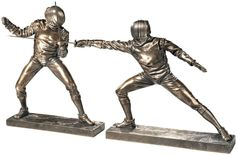 """8"""" Original Olympic Sports Ancient Art of Fencing Statue Set: Lunge & Parry"""
