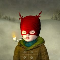 Little Voyageur (2012) 12 x 12   acrylic and digital media on panel. by Ray Caesar