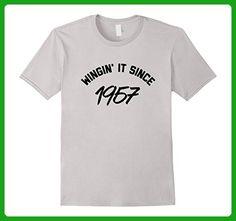 Mens Wingin' It Since 1957 Happy 60th Birthday Tee Shirt 3XL Silver - Birthday shirts (*Amazon Partner-Link)