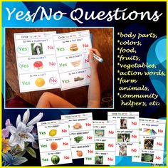 Yes No Questions Autism Worksheets Bundle for Speech Therapy, a great activity to target basic yes no questions, good for students with autism and special needs. Asking and answering questions are very important for teaching preschool and kindergarten students. For more special ed resources follow https://www.pinterest.com/angelajuvic/autism-special-education-resources-angie-s-tpt-sto/