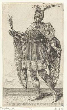Adriaen Matham | Portret van Dirk IV, graaf van Holland, Adriaen Matham, 1620 | Portret van Dirk IV, graaf van Holland, staande naar links in een harnas met op zijn schouder het wapen van Holland en in zijn hand een pijl. Prent uit een serie van 36 prenten met portretten ten voeten uit van graven en gravinnen van Holland.