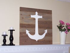 Anchor Wooden Rustic Wall Art - Pottery Barn Inspired - Distressed  Beach House Decor - Lake House - Weathered Dock. $79.99, via Etsy.