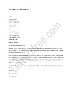 Sample Post Interview Letter - How To Write a Interview Letter, Writing Tips, Example, Format