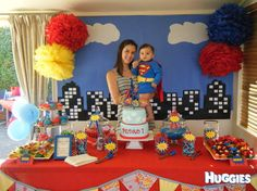 Love the city backdrop and the tissue pom poms. Superman Birthday Party, Superhero Theme Party, 4th Birthday Parties, Boy Birthday, Superhero Backdrop, Cake Table Birthday, Birthday Ideas, Superman Cakes, Superhero Baby Shower