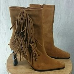 Brown (Camel) Leather Fringe Boots Cute brown leather Fringe boots. Only worn once. Heel is 4 inches. Inside zipper. Predictions Shoes Ankle Boots & Booties