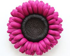 Leather jewelry leather flower brooch by PresentPerfectStudio