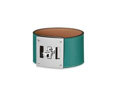 """Kelly Dog Hermes leather bracelet Malachite green swift calfskin Palladium plated hardware, 6.25"""" long, 2"""" diameter<br><br><span style=""""color: #F60;"""">This item may have a shipping delay of 5-7 days.</span><br><br>"""