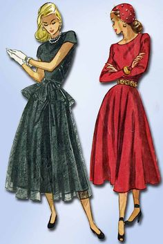 1940s Vintage Simplicity Sewing Pattern 2246 Misses Afternoon Dress Size 13 31B