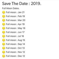 Full moon dates for 2019