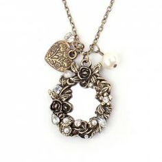 $3.62 Chic Faux Pearl Embellished Carved Design Mirror Pendant Alloy Chain Sweater Chain Necklace For Women
