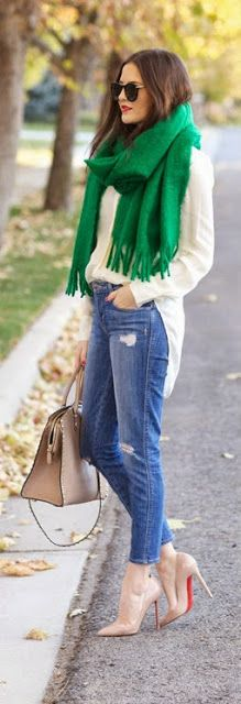 Classic Silk Blouse with Destroyed Skinny Jeans and Kelly Green Scarf by Pink Peonies