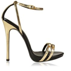 Giuseppe Zanotti Metallic Double Buckle Heeled Sandals ($505) ❤ liked on Polyvore featuring shoes, sandals, high heel stilettos, high heeled footwear, double buckle sandals, stiletto sandals and metallic sandals