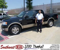 #HappyAnniversary to David Lewis on your 2005 #Ford Truck #F-150 from Jerry Tonubbee at Southwest Kia Mesquite!