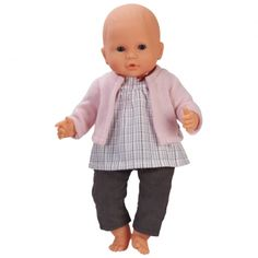 blouse, gilet & pantalon pour petit poupon 42 cm
